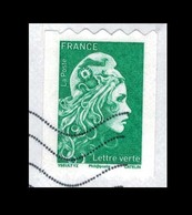 2018 MARIANNE L'ENGAGEE ROULETTE ADHESIVE VERTE OBLITEREE #228# - France