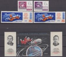 Russia, USSR 19 & 23.03./12.04/23.05.1965 Mi # 3032 AB,3070-71 Bl 38, Voskhod 2, First Spacewalk(I-III) MNH OG - Nuevos
