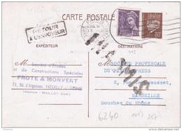 Carte Petain 80c Mercure 40c Paris Gare St Lazare Marseille 1942 Retour à L'envoyeur Inadmis Verso Texte Barrage  Baigts - Entiers Postaux