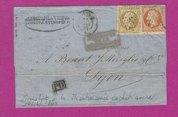 FRANCE Lettre De CONSTANTINOPLE PAQUEBOT DE LA MEDITERRANEE Cachet Ancre Maritime - Postmark Collection (Covers)