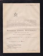 FABRICANT D'armes Liège Joseph BOUSSART Veuf NAUSE  63 Ans 1878 Familles HOUDRET PASSENBRONDER FALOISE - Avvisi Di Necrologio