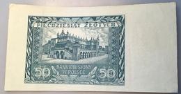 """Poland 1940 50 Zlotych Uniface Proof Banknote P.96 """"BANK EMISYJNY W POLSCE"""" (Pologne Polen Billet Geldschein - Polonia"""