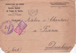 Rare TAXE SIMPLE Pour Lettre 5ème échelon De Poids ! 1942 Etat Français Service Des Pneumatiques 3F + 2F BANDEROLE DUVAL - Segnatasse