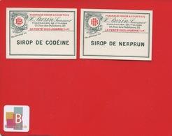 LA FERTE SOUS JOUARRE BAZIN Rue Des Pelletiers   Pharmacien 2 ETIQUETTE ANCIENNE Pharmacie CIRCA  1920 - Etiquettes