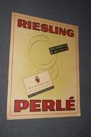 RARE,Ancienne Publicité Originale,Carton,Riesling Perlé,Wellenstein Luxembourg,35 Cm. Sur 27 Cm. - Alcools