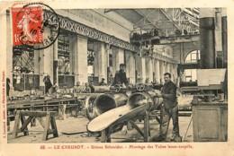 France Le Creusot  Usines Schneider - Montage Des Tubes  Verso : Expédié à Un Gendarme Français à Tientsin Chine - Le Creusot