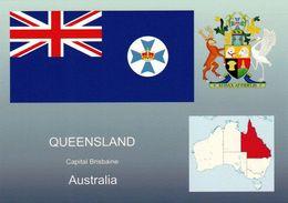 1 AK Queensland * Die Karte Zeigt Die Flagge, Das Wappen Und Die Position Von Queensland In Australien * - Sonstige