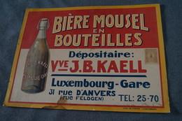 RARE,Ancienne Publicité Originale,Bière Mousel,Veuve J.B.Kaell,Luxembourg,carton Pub. 42 Cm. Sur 32 Cm. - Alcools