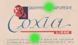 Ancienne Carte Publicitaire Parfumée Savonnerie Parfumerie COXIA à LIEGE / RARE - Cartes Parfumées