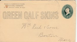 2c Carroll S Page Cover  Green Calf Skins To Boston Advertising On Back - Postal Stationery
