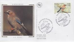 Enveloppe   FDC   1er  Jour    ANDORRE    PROTECTION  DE  LA  NATURE     Le   Geai    2001 - Sperlingsvögel & Singvögel