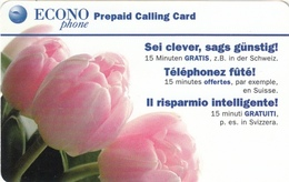 T281 - Switzerland, Prepaid, ECONO Phone, Tulips, Used, 2 Scans - Fleurs