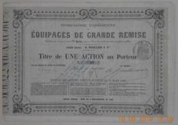 ACTION Cie PARISIENNE Des EQUIPAGES De GRANDE REMISE - 16 Avril 1866 - TRES RARE - Transports