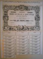 ACTION De La Cie Des CHEMINS DE FER De La LIGNE D'ITALIE Par La Vallée Du Rhône Et Le Simplon - 1856 - - Railway & Tramway