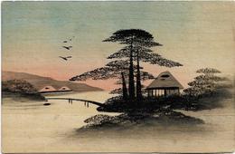 JAPON - JAPAN - PEINTURE  D'UN PAYSAGE SUR CARTE EN  BOIS - Japón
