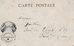 1911 French Card Advertising Mercier Champagne Pic Of Erpernay Source Du Sourdon 5c Sower Stamp - Advertising