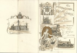 "Menu De Londres 1895 ""The International Railway Congress Illustré Locomotive "" - Menu"
