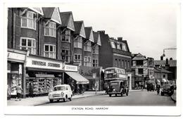 "HARROW STATION ROAD Anime Cars Bus Shops - London Suburbs Autobus - Harvey Barton & Son, Bristol ""real Photograph"" - London Suburbs"