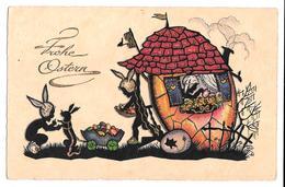 Joyeuses Pâques - Frohe Ostern Belle Carte Colorisée Enfants Avec Bonnet De Lapin 1931 - Pâques