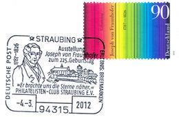 FRAUNHOFER V., J. - Germany 2012 Michel # 2907 - Special Mark Straubing 4.3.2012 - Line Spectrum - 225th Birthday - Wissenschaften