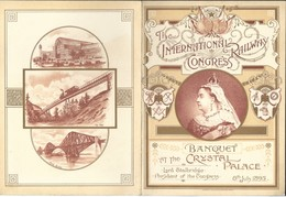 Menu 1895 The International Railway Congress At Crystal Palace Illustré Train - Menu