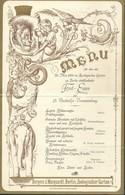 Menu 1890 Zoologischen Garten Berlin Illustré Lion écureuil éléphant + Tisch-karten - Menus