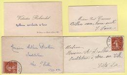 Type Semeuse - Les Maillys - Cote D'Or - Lot De 2 Enveloppes Format Carte De Visite - 4-1-1936 - Poststempel (Briefe)