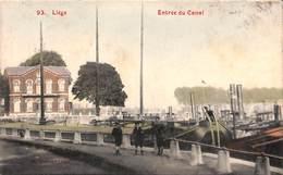 Liège - Entrée Du Canal (animée Colorisée Péniches Bassin De Coronmeuse) - Liege