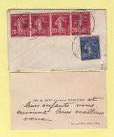 Type Semeuse - Arc Sur Tille - Cote D'Or - Enveloppe Format Carte De Visite - 30-12-1938 - Marcophilie (Lettres)