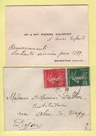 Type Semeuse - Arc Sur Tille - Cote D'Or - Enveloppe Format Carte De Visite - 4-1-1939 - 1921-1960: Moderne