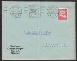 1926 - EF Fernbrief 15Pfg (Mi.373) 28.4.26 SonderStpl. BENUTZTE DIE LUFTPOST (Abb.FLugzeug)  - Lochung Perfin K.O - Briefe U. Dokumente