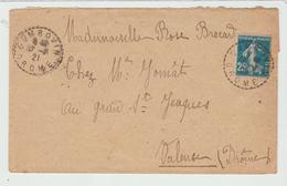 DROME: COMBOVIN  CàD Type B4 / LSC De 1921 Pour Valence TB - Postmark Collection (Covers)