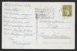1932 - Dt.Reich 1.16.32 - KIEL Sonderstempel BENUTZT DIE KRAFTPOST A. 6 Pf (Mi.465) - Briefe U. Dokumente