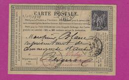 FRANCE Carte Postale De BEAUMONT DORDOGNE 1878 - Poststempel (Briefe)