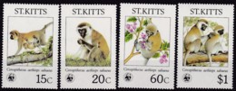 1986,St. Kitts, 184,87,  WWF. Weltweiter Naturschutz: Meerkatzen., Worldwide Nature Conservation: Monkeys. MNH ** - St.Kitts Und Nevis ( 1983-...)