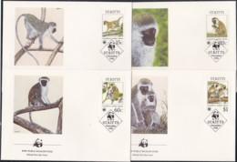 1986, St. Kitts, 184,87,  WWF. Weltweiter Naturschutz: Meerkatzen., Worldwide Nature Conservation: Monkeys. FDC - St.Kitts Und Nevis ( 1983-...)