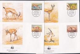 1987, Lybien, 1753/56,  WWF. Weltweiter Naturschutz: Gazelle,  Global Nature Conservation: Gazelle, FDC - Libyen
