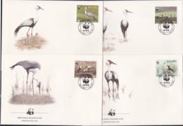 1986, Malawi, 477/80,  WWF. Weltweiter Naturschutz: Kranich,  Worldwide Nature Conservation: Crane, FDC - Malawi (1964-...)