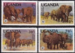 1983, Uganda, 361/64 A,  WWF.  Weltweiter Naturschutz:  Elefant, Worldwide Nature Conservation: African Elephant. MNH ** - Uganda (1962-...)