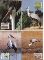 1986, Malawi, 477/80,  WWF. Weltweiter Naturschutz: Kranich,  Worldwide Nature Conservation: Crane, Maxi Cards - Malawi (1964-...)