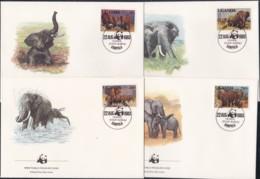 1983, Uganda, 361/64 A,  WWF.  Weltweiter Naturschutz:  Elefant, Worldwide Nature Conservation: African Elephant.FDC - Uganda (1962-...)