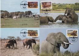 1983, Uganda, 361/64 A,  WWF.  Weltweiter Naturschutz:  Elefant, Worldwide Nature Conservation: African Elephant. Maxi C - Uganda (1962-...)