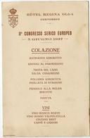 MENU II CONGRESSO SERICO EUROPEO HOTEL REGINA OLGA CERNOBBIO 5 GIUGNO ANNO 1927 COMO - Menu