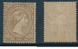 FALKLANDS, 1878 1/- Bistre-brown, No Wmk  Fine MM, SG4, Cat £85 - Falklandeilanden