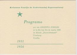 AKEO Card With The Programme Of The Silver Jubilee Christian Esperanto Speakers In Holland 1956 - Kristanaj Esperantisto - Esperanto