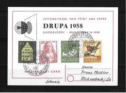 1958 DRUPA → INTERNATIONAL FAIR PRINT AND PAPER DÜSSELDORF (special Postcard) - Lettres & Documents