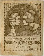 PUBBLICITà ETICHETTA  VEGLIONISSIMO AZZURRO TRA NEI E CICISBEI 10 FEBBRAIO ANNO 1923 UDINE ILLUSTRATORE MARVAL - Adesivi