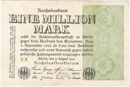 Alemania - Germany 1.000.000 Mark 9-8-1923 Pk 102 A Marca De Agua Tipo E Ref 3801-2 - [ 3] 1918-1933 : República De Weimar
