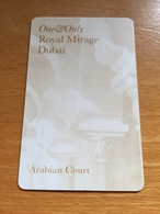 Hotelkarte Room Key Keycard Clef De Hotel Tarjeta Hotel ROYAL MIRAGE DUBAI  ARABIAN COURT - Telefonkarten
