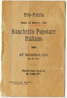 MENU PRO PATRIA BANCHETTO POPOLARE ITALIANO 12 OTTOBRE ANNO 1904  WORLD'S FAIR GROUNDS ST. LOUIS STATI UNITI - Menu